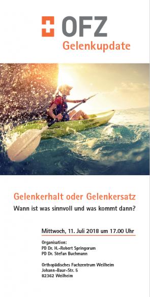 OFZ Fortbildung Gelenkerhalt oder Gelenkersatz Weilheim