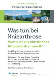 Kniearthrose, Arthrose, Festerling Springorum OFZ, Penzberger Sprechstunde, künstliches Kniegelenk