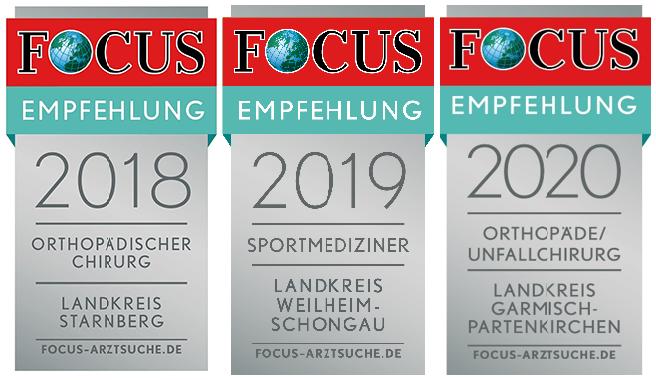 Auszeichnung Focus Siegel in Folge OFZ Orthopädie
