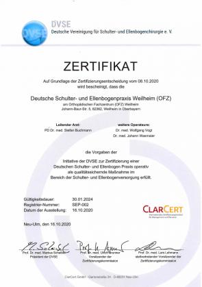 DVSE Zertifikat Schulter Ellenbogen OFZ Buchmann Vogt Wasmaier